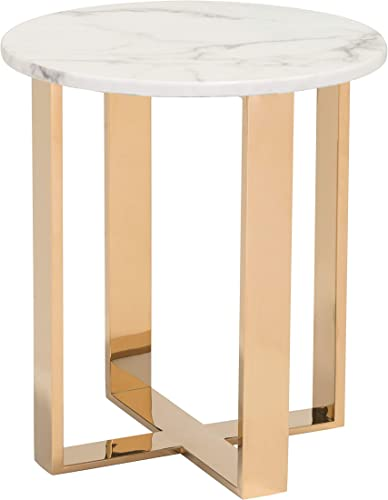 Atlas End Table White Gold