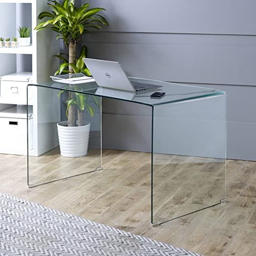 Geo-Glass Large Clear Glass Desk (with Tempered Toughened Safety Glass)