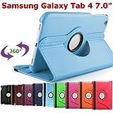 King Cameleon BLEU CLAIR pour Samsung Galaxy Tab 4 7 pouces T2300/T231/T235/T2310 avec 1 Stylet Offert- Housse Pochette Multi Angle ROTATIVE 360 - Nombreuses couleurs disponibles - Coque Etui en PU CUIR, rotation à 360°