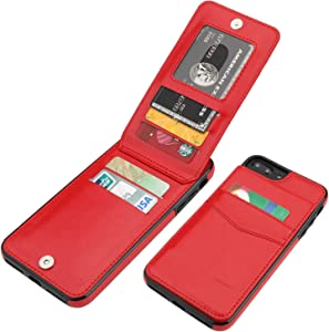 KIHUWEY iPhone 7 Plus iPhone 8 Plus Case Wallet with Credit Card Holder, Premium Leather Magnetic Clasp Kickstand Heavy Duty Protective Cover for iPhone 7/8 Plus 5.5 Inch (Red)