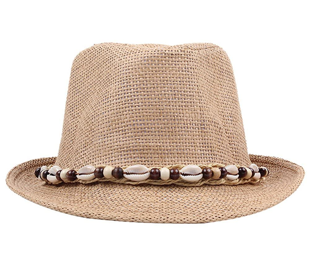 Roffatide Straw Trilby Fedora Hat Men Women Anti-UV Sun Beach Hat LT2079-1
