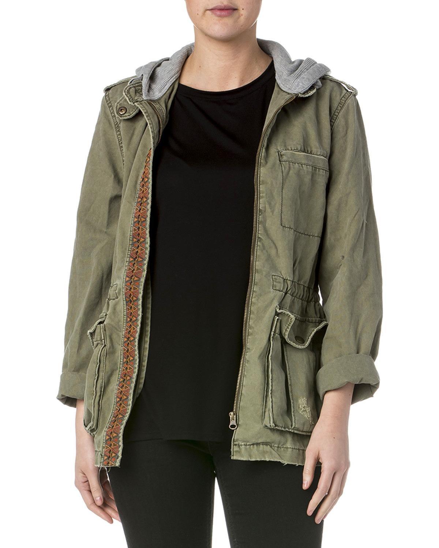 Miss Me MDJ463L Olive Hooded Utility Jacket (medium)