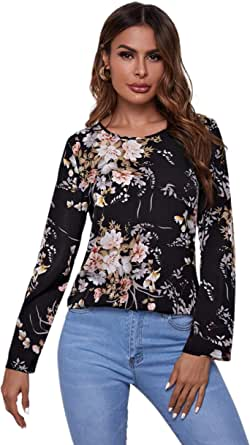 MakeMeChic Women's Floral Print Round Neck Top Casual Long Sleeve Basic T-Shirts