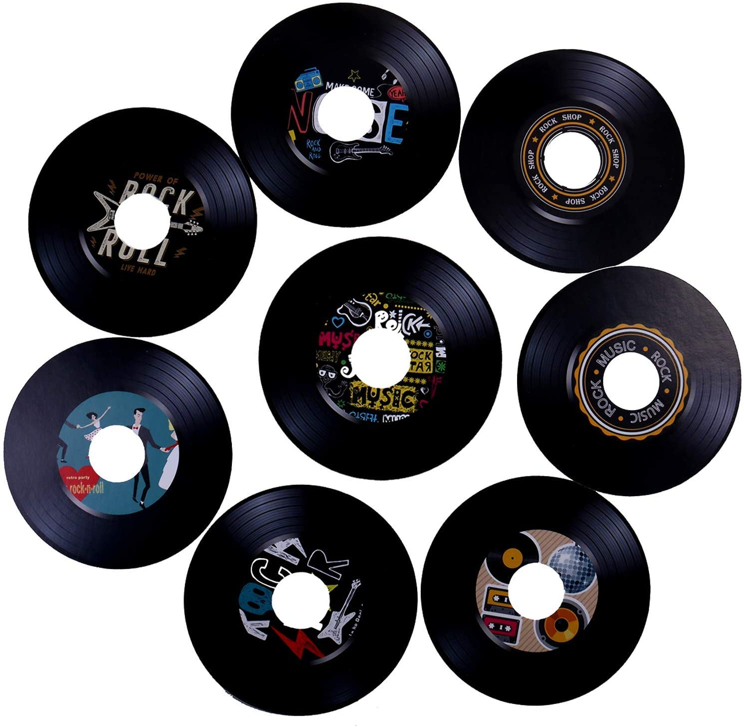 Ujuuu 40PCS Rock Music Party Decorations, 7 Inch Creative Vinyl Record Design Party Paper Decoration for Wall Decor Bar Cafe Music Party Favor Supplies
