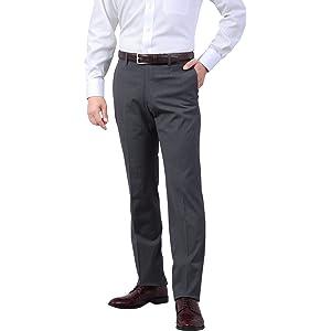 春夏 メンズ しなやか素材 ウォッシャブル ノータック スリム パンツ ストレッチ スラックス チャコールグレー 70cm