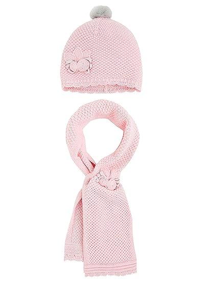 09889031d7f Amazon.com  Little Girls Flower Applique Angora Blend Knit Hat Scarf Set   Clothing