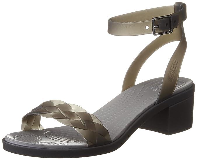 crocs Women's Isabella Block Heel Wedge Sandal Fashion Sandals at amazon