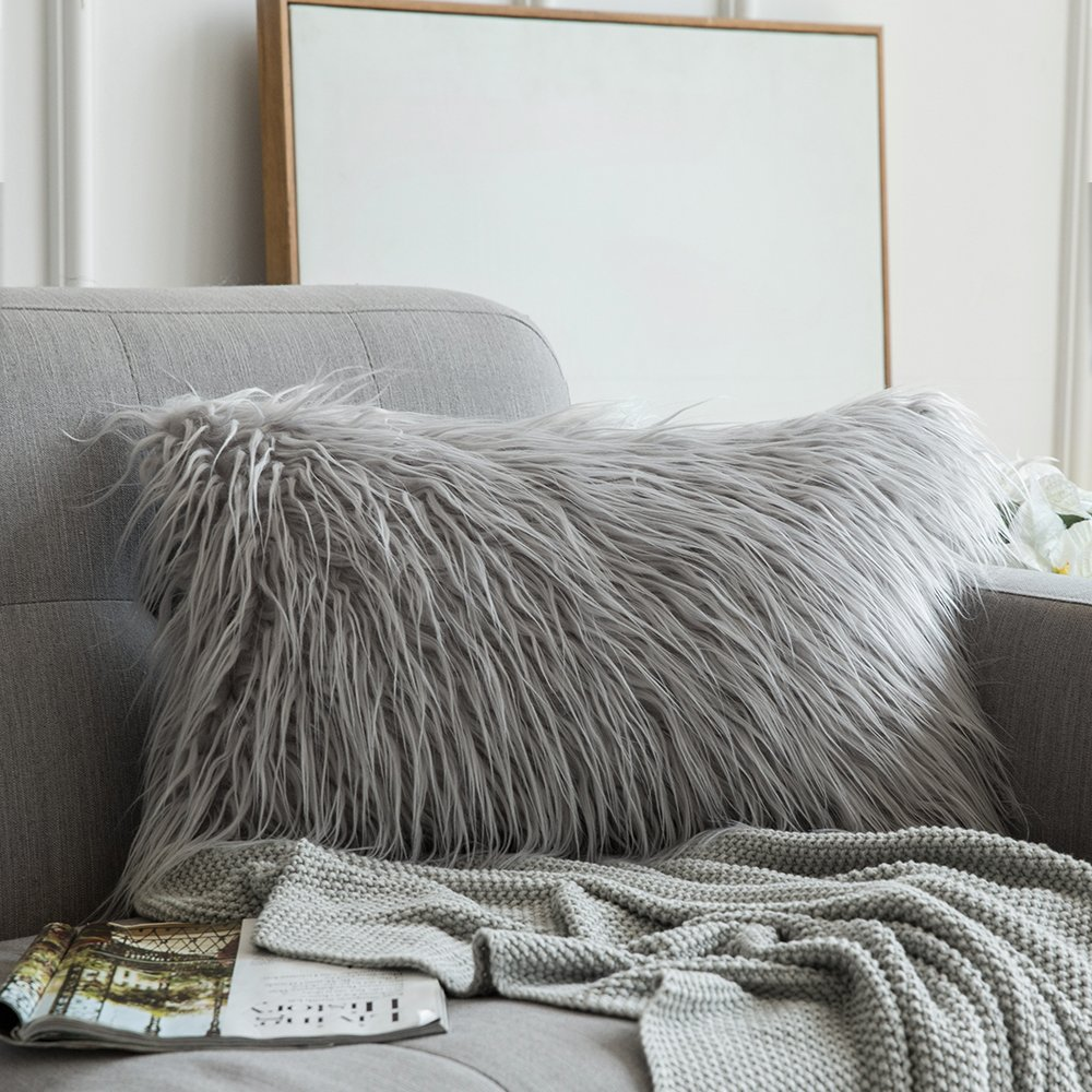 MIULEE Decorative New Luxury Series Style Light Gery Faux Fur Throw Pillow Case Cushion Cover for Sofa Bedroom Car 12 x 20 Inch 30 x 50 cm