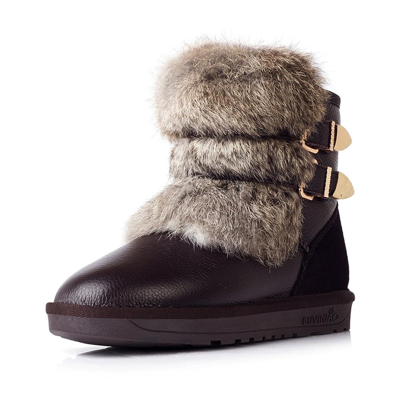 Jianda Women rabbit fur leather heavy waterproof Anti-skid Snow Boots