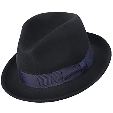8d636c3899310 Janetshats Wool Felt Snap Brim Fedora Hat Men s Crushable Dress Trilby Jazz  Cap 57CM Black