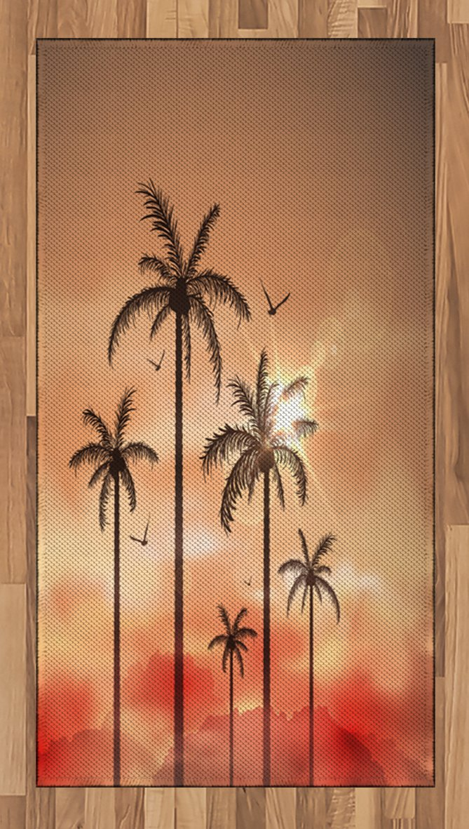 Ambesonne Tropical Area Rug, Palm Trees with Dramatic Hazy Sky Clouds and Gulls Exotic Display Art, Flat Woven Accent Rug for Living Room Bedroom Dining Room, 4 x 6 FT, Coral Salmon Brown