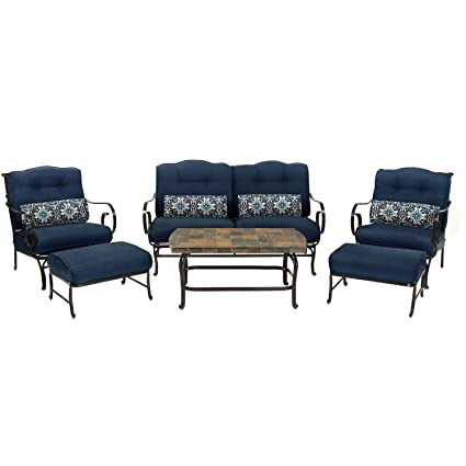 Oceana 6 Piece Patio Set In Navy Blue With A Stone Top Coffee Table