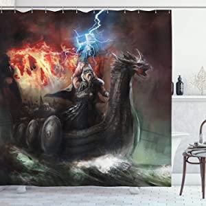 "Ambesonne Dragon Shower Curtain, Imaginary Wrath of Vikings Royal Boat with Dragon Head Storm Rays, Cloth Fabric Bathroom Decor Set with Hooks, 84"" Long Extra, Charcoal Red"