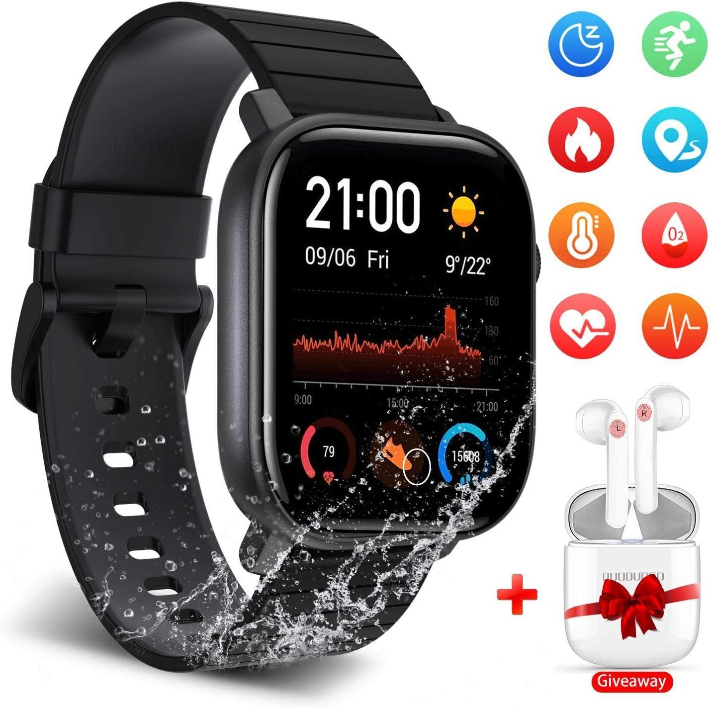 Smartwatch Reloj Inteligente para Mujer Hombre Niños Impermeable IP68 Pulsera Deportiva Monitor con Monitor de Sueño Pulsómetros,Reloj Inteligente Buenos 1.4