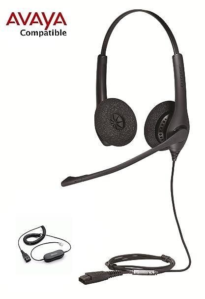 Avaya Compatible Jabra Biz 1500 Duo Noise Canceling Headset Bundle Avaya  1600, 9600 Phones: 1608 1616 9601 9608 9610 9611 9611G 9620 9620C 9620L  9621