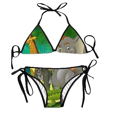 b35d86554f795 Amazon.com  Women Bikini Lace Up Swimwear Animals Family Knitted Bikini  Sets Low Waist Two Piece Swimsuit Bathing Suit  Clothing