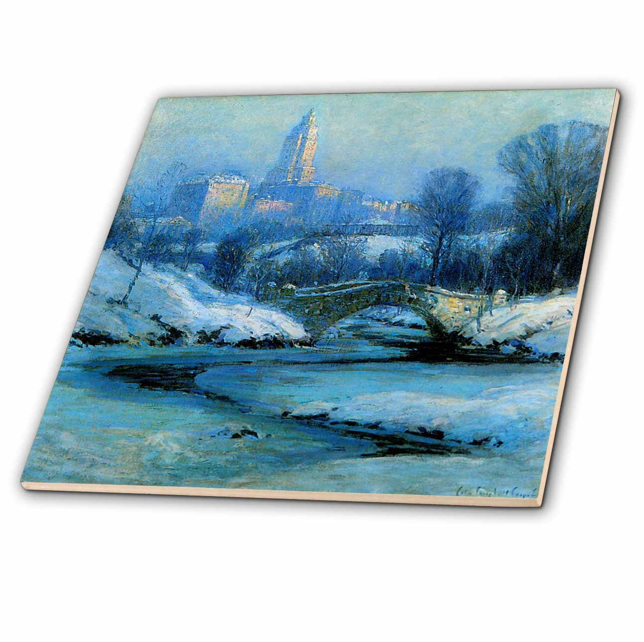 3dRose ct_35944_4 NY Central Park Painting-Ceramic Tile, 12-Inch