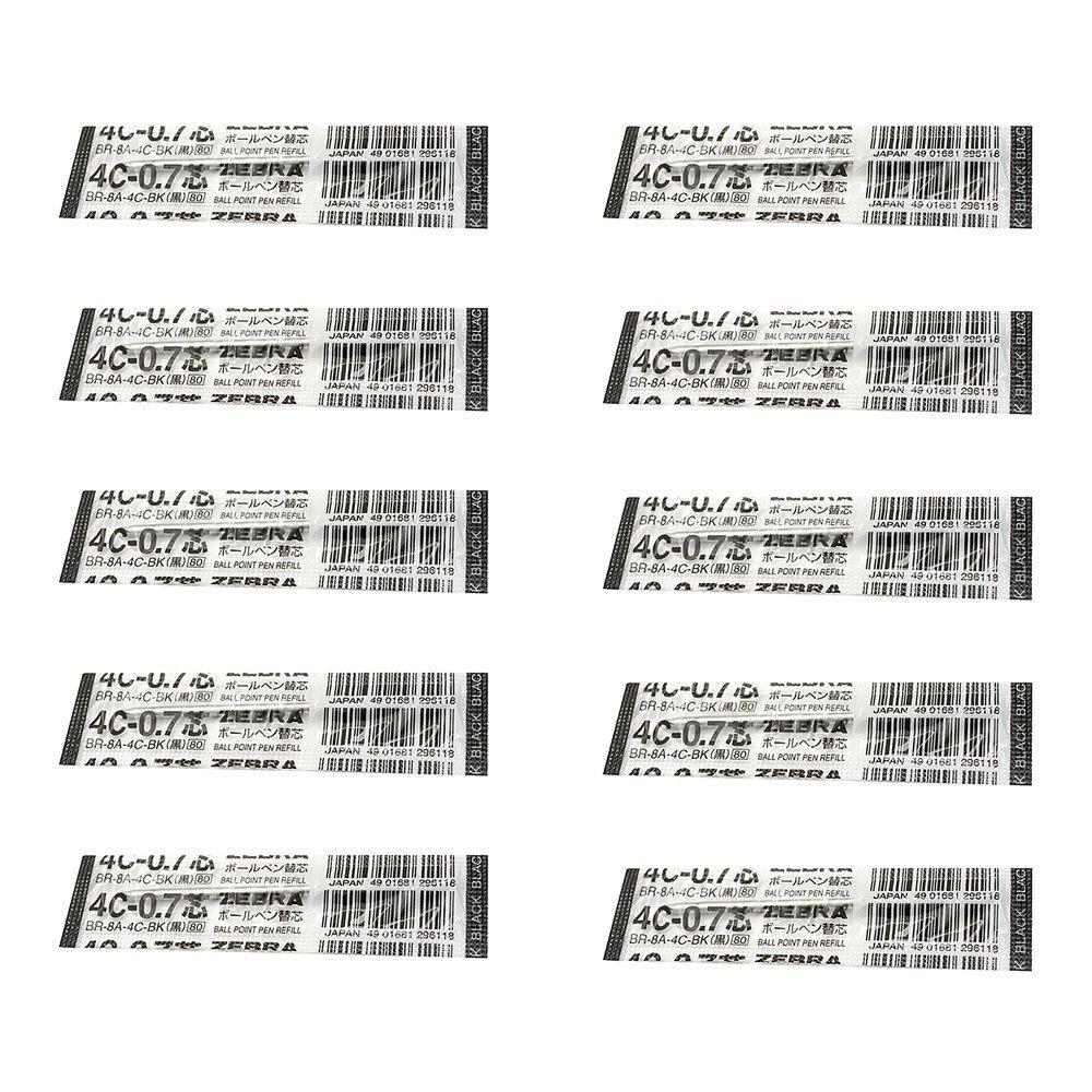 10pcs Zebra 4C-0.7 0.7mm Refill (Box Set) - Black Ink