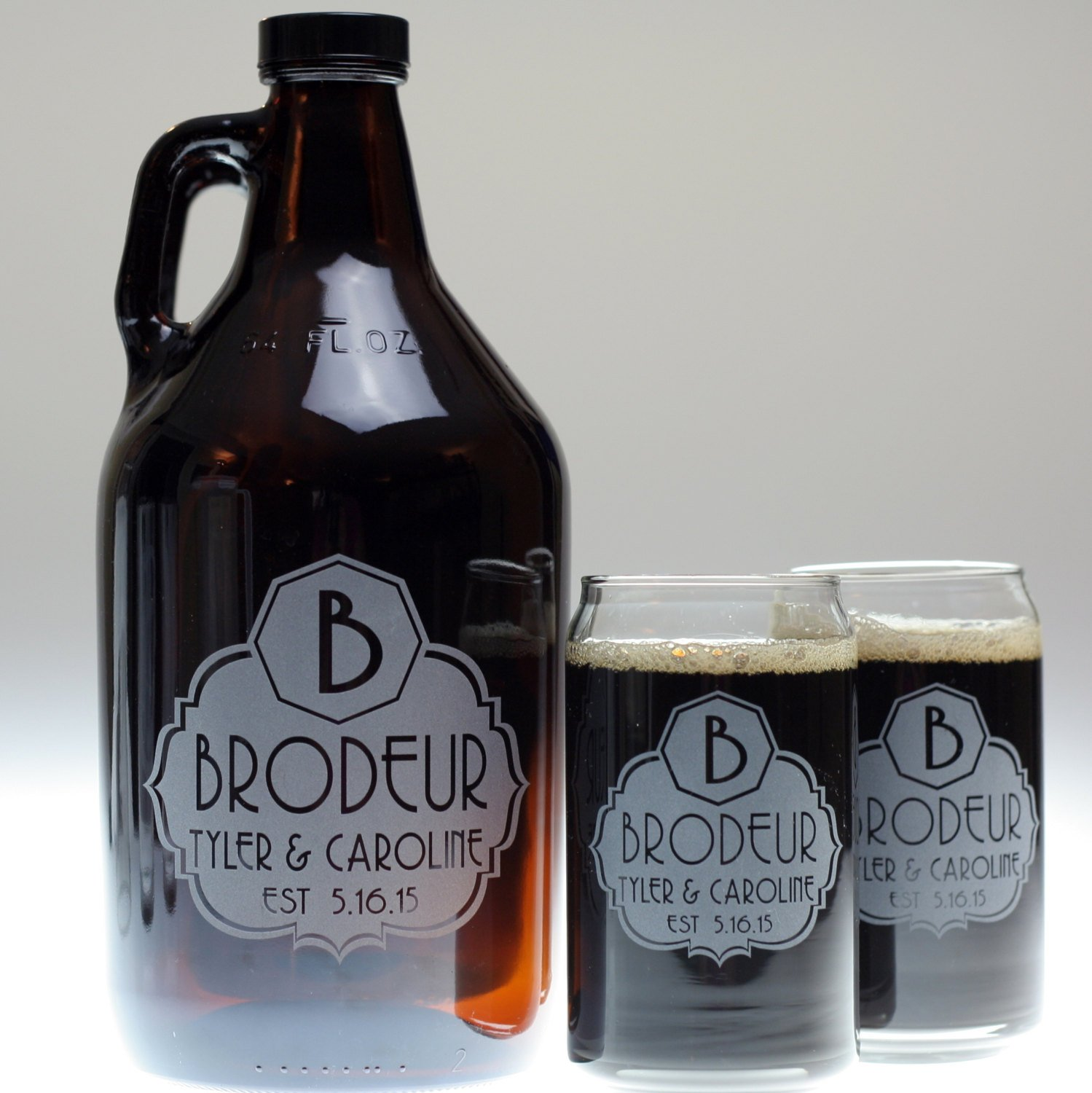 Personalized Engraved Wedding Gift of Beer Growler and Pint Glass Set Etched with Fancy Large Initial Label