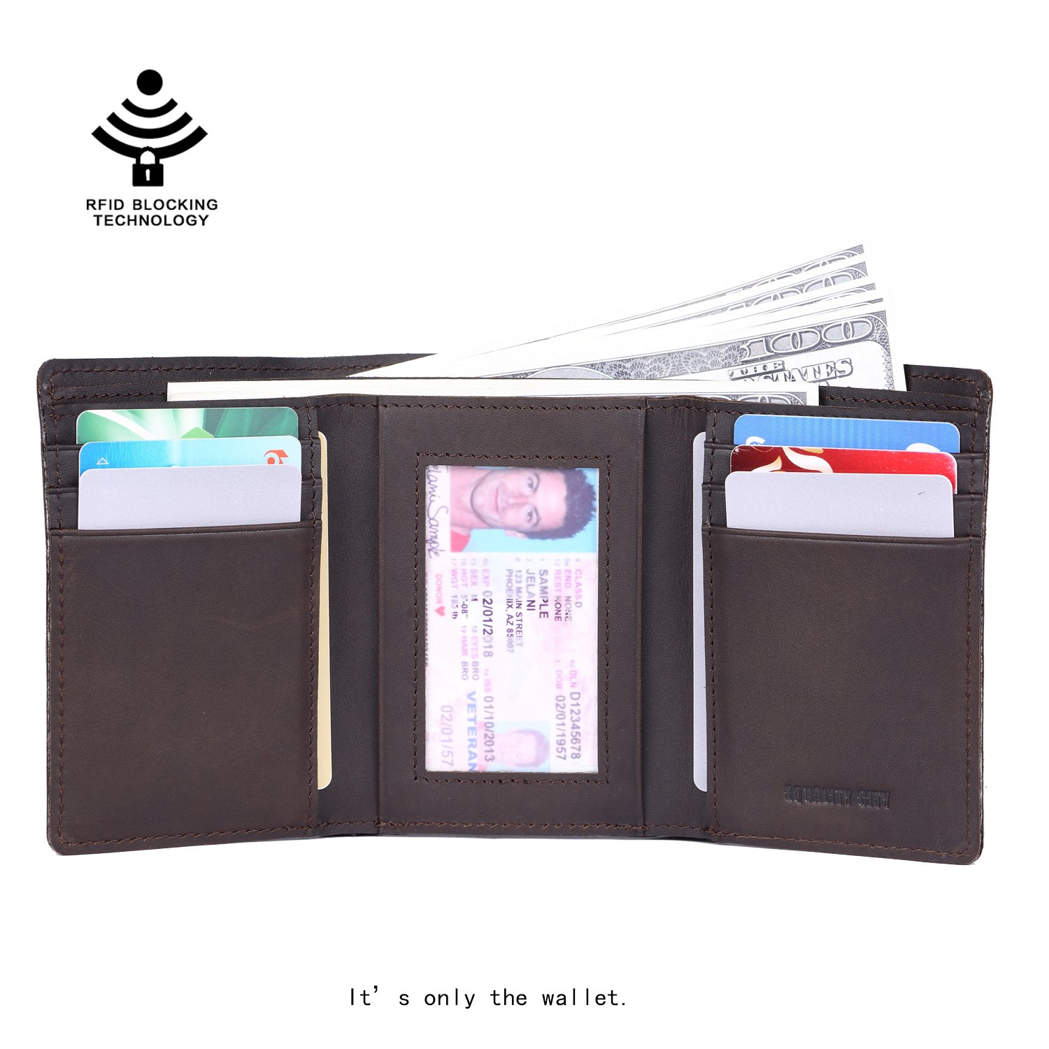 EQUALITY CITY Mens RFID Leather Trifold Wallets for Men