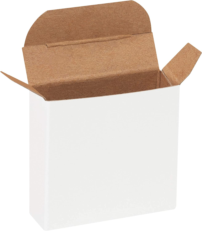 1000//Case White Reverse Tuck Folding Cartons 2 5//8 x 3//4 x 2 5//8