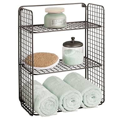 mDesign Tall Metal Wire Farmhouse Wall Decor Storage Organizer Shelf with 3 Levels for Bathroom, Entryway, Hallway, Mudroom, Bedroom, Laundry Room - Wall Mount - Bronze