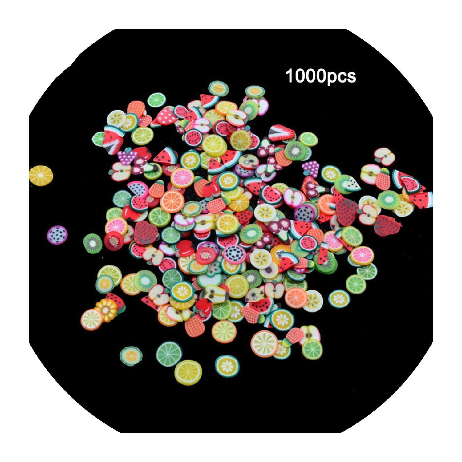 1000pcs/pack Nail Art Fruit Flowers Feather DIY Design Fimo Cane Slices Decoration Acrylic Beauty Polymer Clay Nail Sticker Tool,Fruit by vibe-body