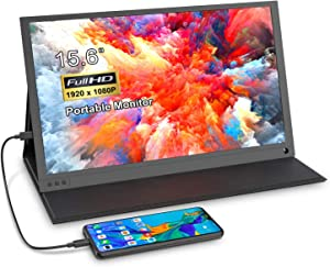 Portable Monitor - 15.6'' Gaming Display Second Screen 1080P IPS Computer Gaming Monitor, with HDMI USB C Port for PC Laptop PC Phone MacBook PS4 Xbox Nintendo Raspberry pi