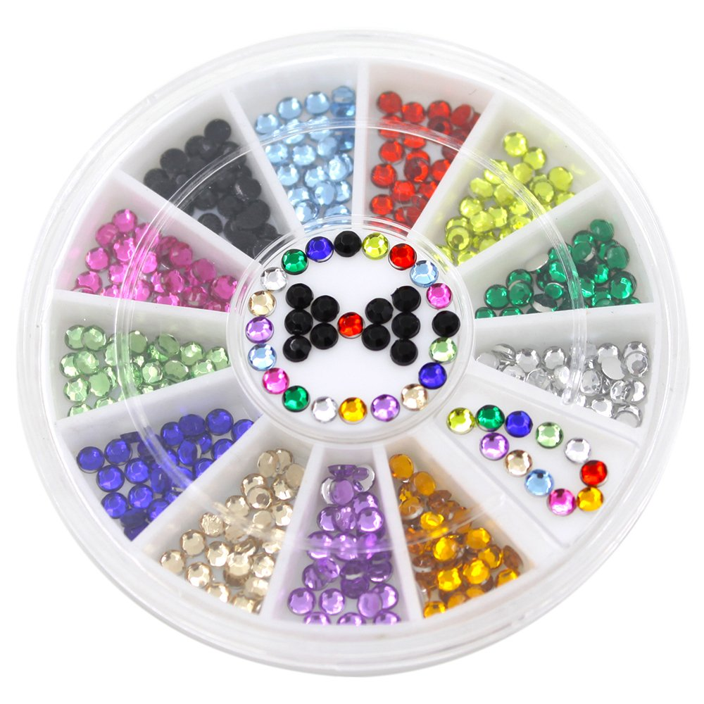 bismarckbeer Mixed Color 3D Nail Art Gems Rhinestones Stickers DIY Glitter Nail Decorations Tips