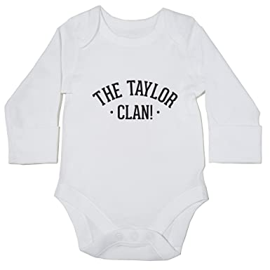 bcff3ca47 Hippowarehouse The Taylor Clan Personalised Baby Vest Bodysuit (Long  Sleeve) Boys Girls: Amazon.co.uk: Clothing