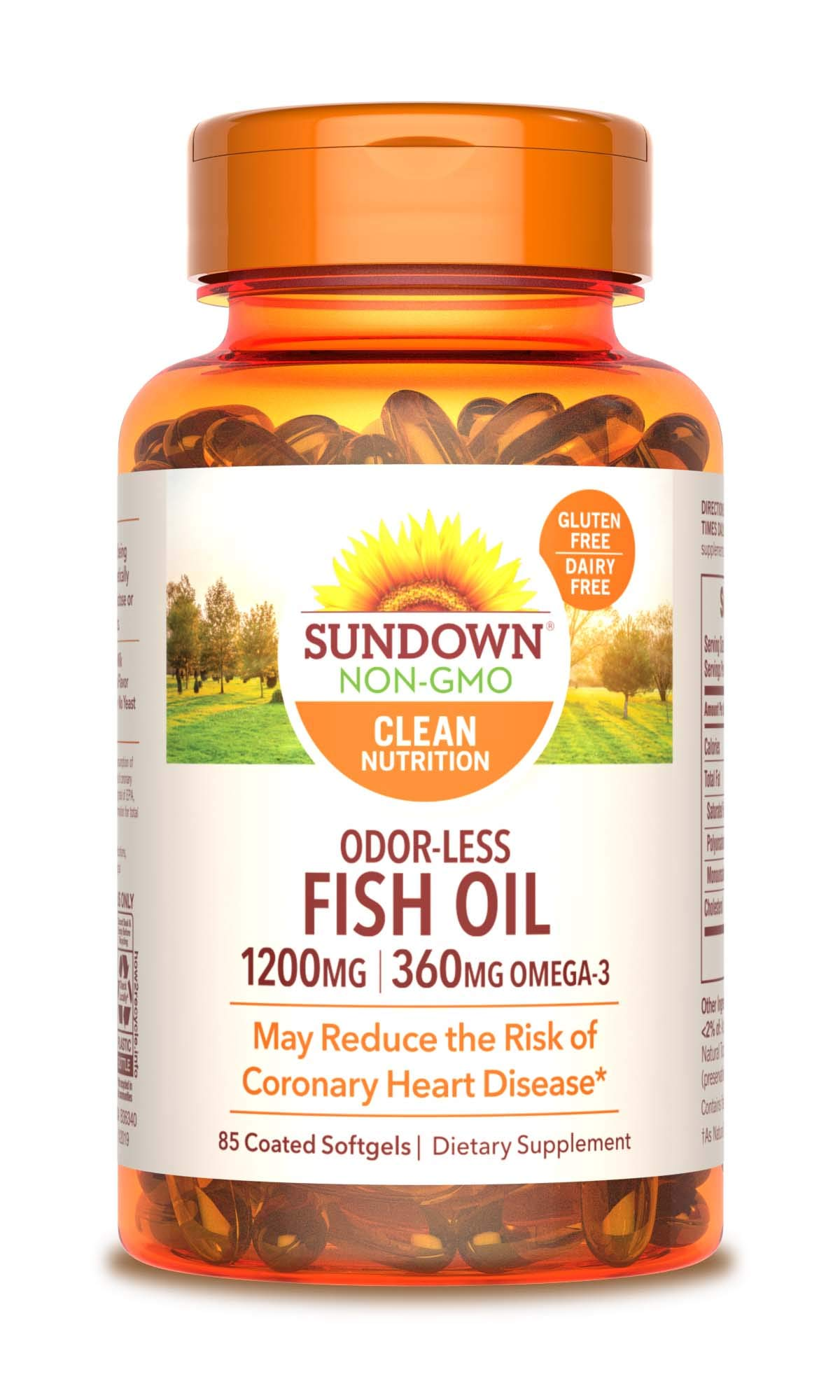 Sundown Fish Oil 1200 mg, 85 Odorless Softgels (Packaging May Vary) by Sundown
