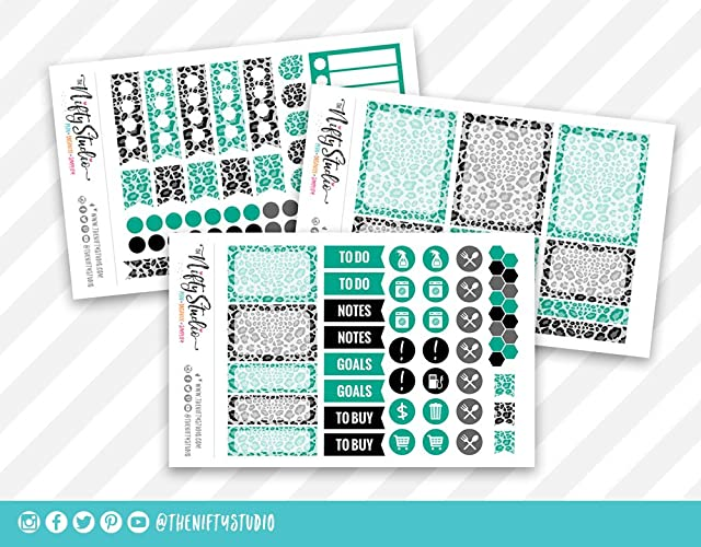 Amazon.com: Teal Leopard Print Weekly Planning Stickers ...