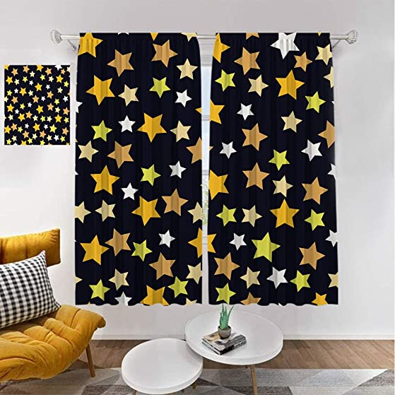 Stars Modern Curtains, Christmas Pastel Color Pattern with Colorful Stars on Dark Background Window Treatments Thermal Insulated Blinds, 2Pcs Each 60 Wx96 L