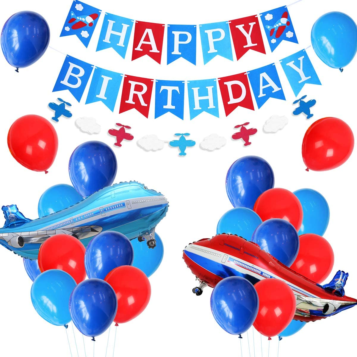 Plane Party Supplies for Boys - Airplane Birthday Party Decorations With Happy Birthday Banner, Foil Balloon, Airplane and Cloud Garland