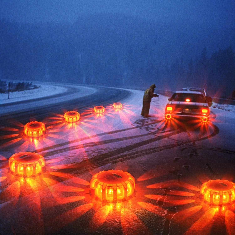 4 Wanme 4-Pezzi Magnetico LED Road Flare Lampione di Segnalazione Luminosa per Auto RV Camion Barca con Borsa Lampeggiante Luce di Segnalazione