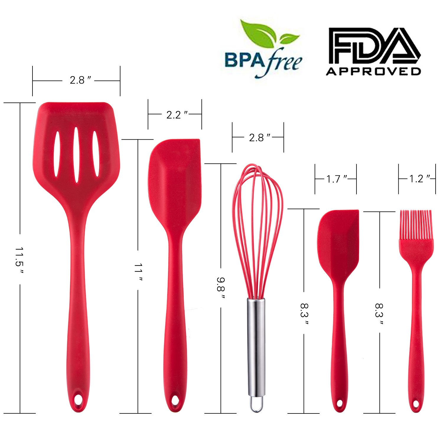 WARMWIND 5-Piece Silicone Kitchen Baking Utensil Set, Non-Stick Cooking Accessories for Baking, Slotted Spatula, Large Spatula, Small Spatula, Basting Brush, Whisk(Red) by WARMWIND (Image #2)