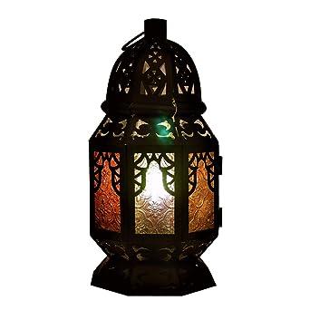 Kindgoo Lampe Marocaine Chevet En Verre Multicolore Lumiere Led