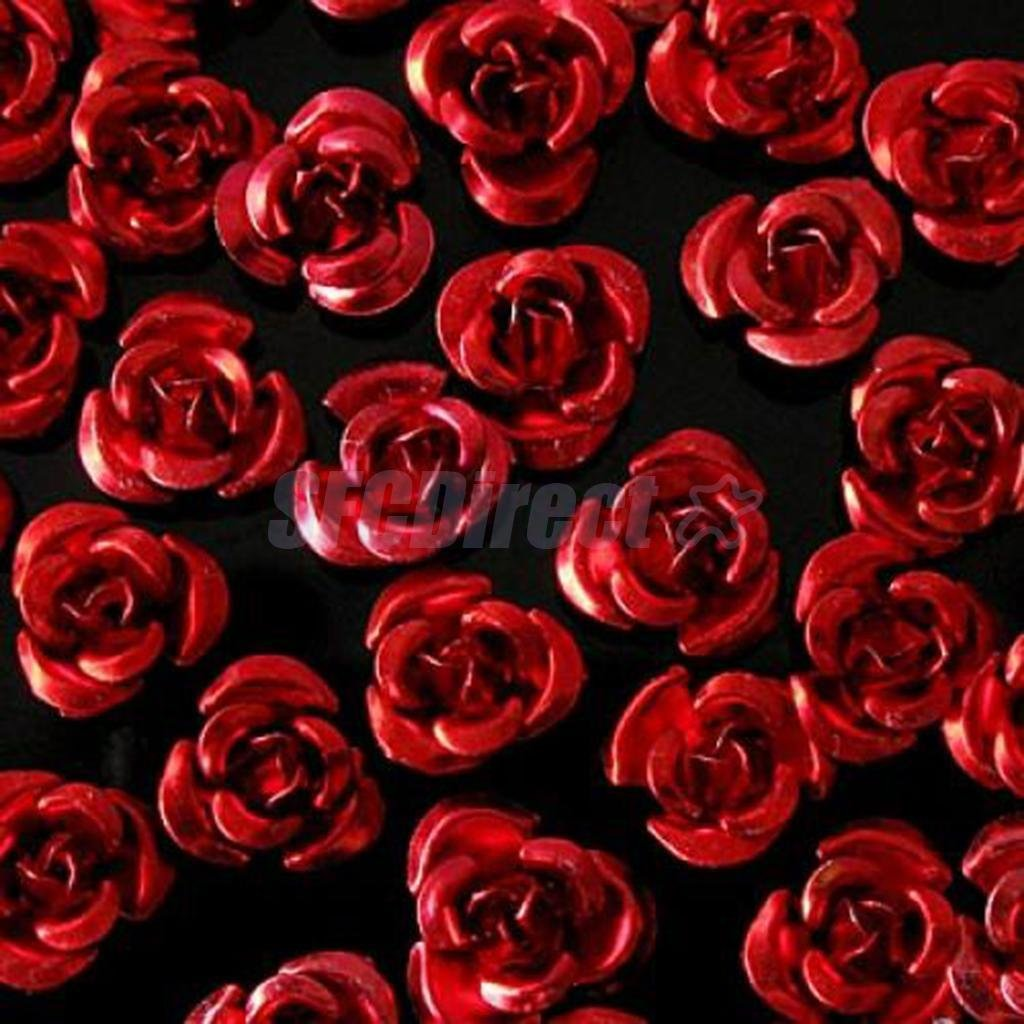 50 Aluminium Metal Rose Flower Spacer Beads Cabochon Craft Beading 8mm Red sfcdirect