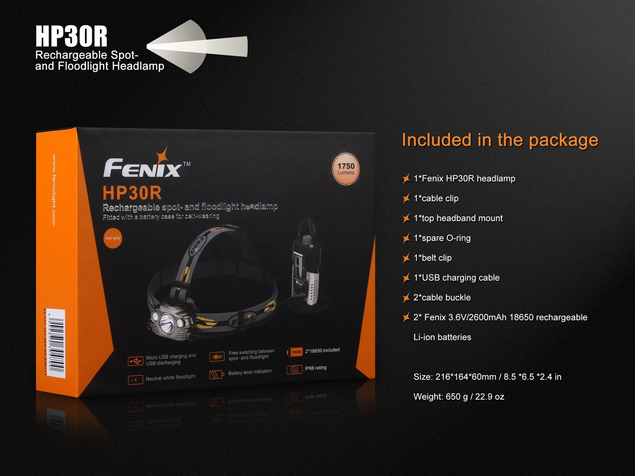 Fenix HP30R 1750 Lumen CREE LED Headlamp (Iron Grey) with 2 X Fenix 18650 Li-ion rechargeable batteries and Four EdisonBright CR123A Lithium batteries bundle by Fenix (Image #8)