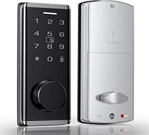 Narpult Smart Door Lock, Electronic Smart Lock with Keypad, Electric Deadbolt with Fobs, Bluetooth Door Lock with APP Control, Keyless Entry Deadbolt, Works with Alexa & Google Home, Modern Style