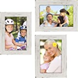 """Rustic Torched Wood Picture Frames: Includes three 4""""x6"""" Photo Frames: Ready to Hang or use Tabletop. Shabby Chic…"""
