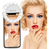 Selfie Ring Light For iPhone & Phone, UBeesize Clip on Led Camera Light [3-Level Brightness] [Rechargeable Battery] For Smartphones
