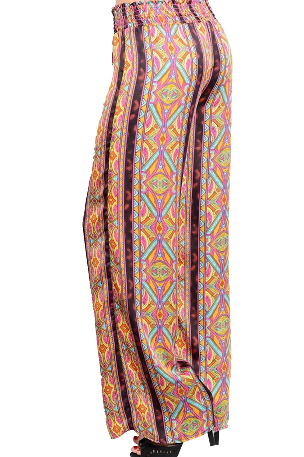 2LUV Women's Aztec/Geometric Mix Print Palazzo Pants
