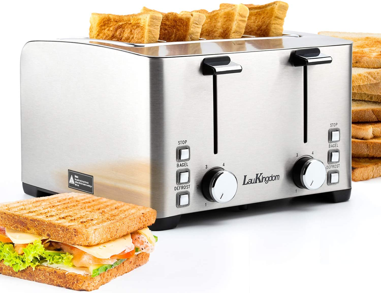 Toaster 4 Slice, LauKingdom Stainless Steel Toasters with Bagel/Defrost/Stop Function, Dual Independent Control Panels, 4 Wide Slots Toaster, 6 Bread Shade Settings, 1500W Silver