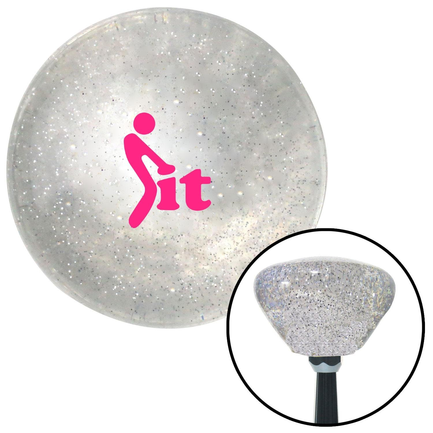 American Shifter 286246 Shift Knob Company Pink FCK It Icon Clear Retro Metal Flake with M16 x 1.5 Insert