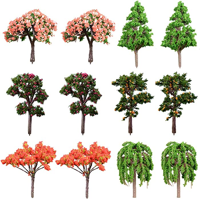 MAOMIA Miniature Fairy Garden Artificial Tree Plant Ornament 12 Pcs Miniature Dollhouse Pots Decor Moss Bonsai Micro Landscape DIY Craft Garden Ornament
