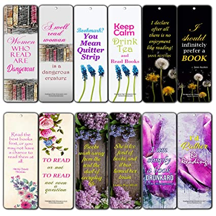 Creanoso Floral Reading Bookmarks For Women 12 Pack Premium Gift Set Inspiring Reading Word Sayings Quotes For Ladies Wife Girls Six Bulk
