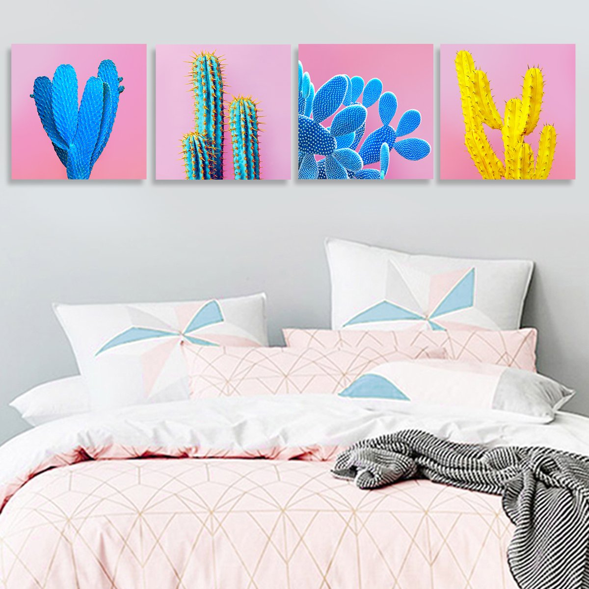 Cactus Decor Home Decorations Wall Art For Living Room Framed Pictures Canvas Prints Colorful Pop Fashion Tropical Desert Plant Girl Pink Blue Modern Contemporary Artwork Set of 4 Piece 12 12 x4