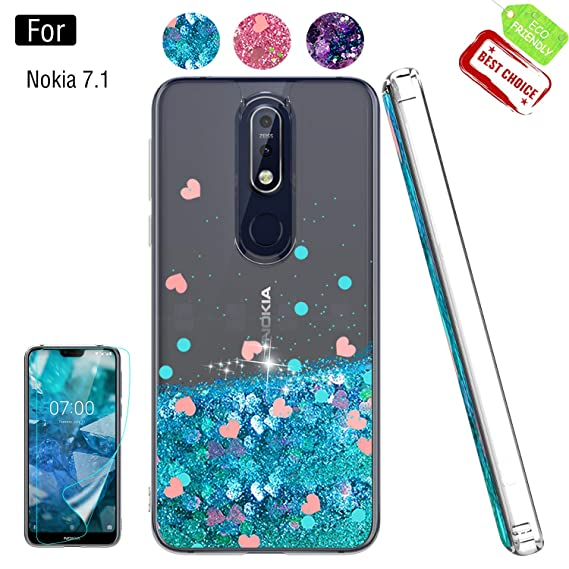 half off 9a705 d7203 Nokia 7.1 Cases with Screen Protector for Girls Women, Luxury Bling Diamond  Quicksand Liquid Clear TPU Protective Phone Case for Nokia 7.1 Blue
