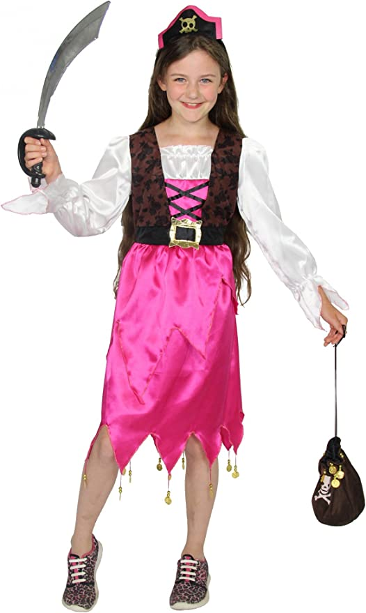 FOXXEO 40220I Disfraz de Pirata Rosa para niñas Pirata Disfraz ...